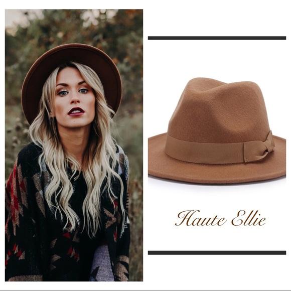 8683634258a Dark Camel Wool Felt Fedora Hat